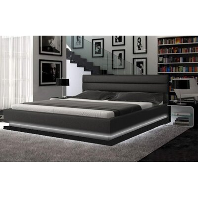 Knisely Upholstered Platform Bed Color: Black, Size: Queen