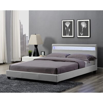 Knopf Upholstered Platform Bed Color: Light Gray, Size: Queen