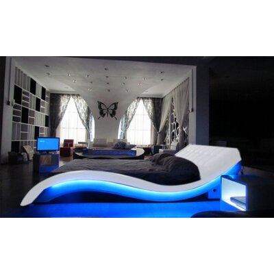 Konen Upholstered Platform Bed Color: White, Size: King