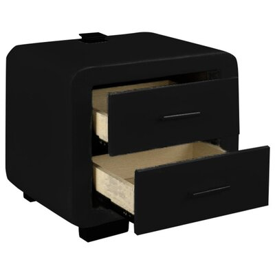 Brummitt Modern 2 Drawer Nightstand Color: Black