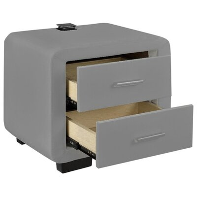 Brummitt Modern 2 Drawer Nightstand Color: Light Gray
