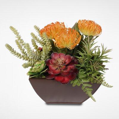 Tropical Artificial Desktop Succulent Arrangement Plant in Metal Planter