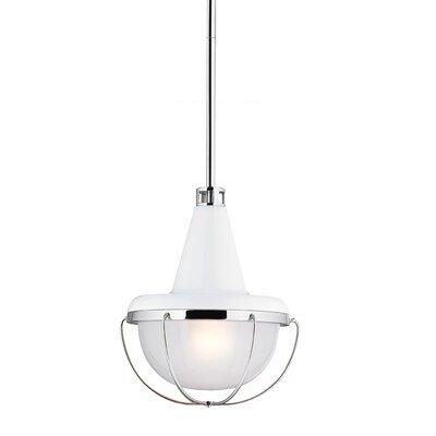 Livingston 1 Light Mini Pendant Bulb Type: Self Ballasted CFL GU24 13W, Finish: High Gloss White / Polished Nickel