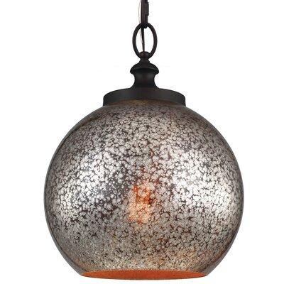 Tabby 1 Light Mini Pendant Bulb Type: A19 Medium 13W, Base Finish: Oil Rubbed Bronze, Shade Color: Brown Mercury Plating