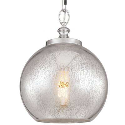 Tabby 1 Light Mini Pendant Shade Color: Silver Mercury Plating, Bulb Type: A19 Medium 13W, Base Finish: Polished Nickel