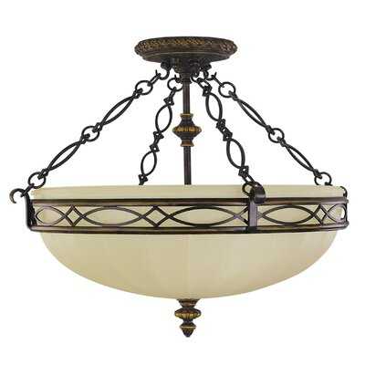 Edwardian Small 3-Light Semi Flush Mount Size: 18 H x 23 Diameter