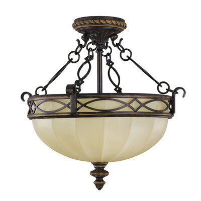 Edwardian Small 3-Light Semi Flush Mount Size: 15 H x 16 Diameter