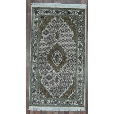 One-of-a-Kind Seaway Hand-Woven Wool/Silk Green Area Rug