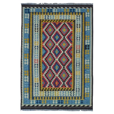 One-of-a-Kind Astudillo Hand-Woven Wool Blue Area Rug