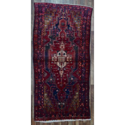 One-of-a-Kind Alayna Hamadan Semi-Antique Hand-Woven Wool Rectangle Red Area Rug