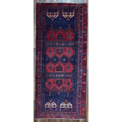 One-of-a-Kind Alayna Hamadan Semi-Antique Hand-Woven Wool Red Area Rug