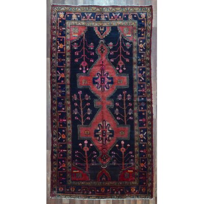 One-of-a-Kind Alayna Hamadan Semi-Antique Hand-Woven Wool Navy Area Rug