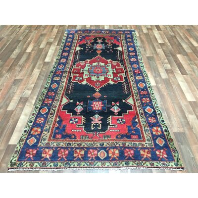 One-of-a-Kind Alayna Hamadan Semi-Antique Hand-Woven Wool Runner Navy Area Rug