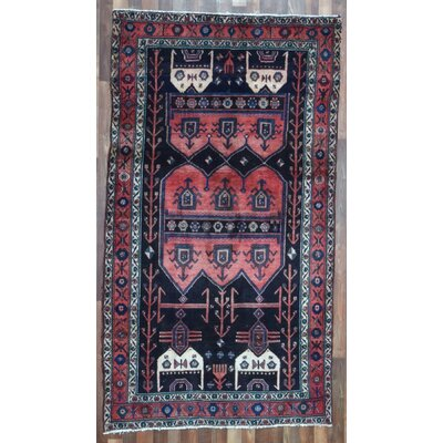 One-of-a-Kind Alayna Hamadan Semi-Antique Hand-Woven Wool Runner Red Area Rug