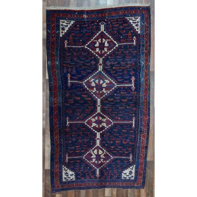 One-of-a-Kind Alayna Hamadan Southwestern Semi-Antique Hand-Woven Wool Navy Area Rug