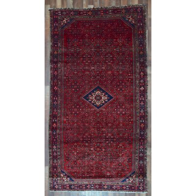One-of-a-Kind Alayna Hamadan Oriental Semi-Antique Hand-Woven Wool Navy Area Rug