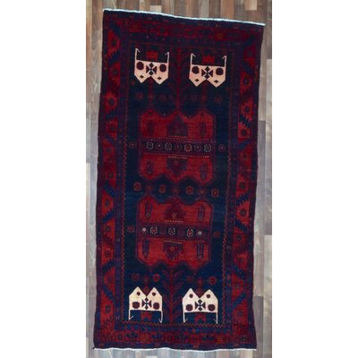 One-of-a-Kind Alayna Hamadan Semi-Antique Hand-Woven Wool Navy/Red Area Rug