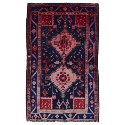 One-of-a-Kind Alayna Semi-Antique Hamadan Hand-Woven Wool Red/Blue Area Rug
