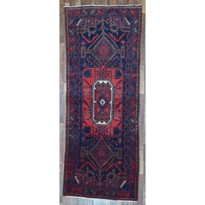 One-of-a-Kind Alayna Semi-Antique Hamadan Hand-Woven Wool Blue Area Rug