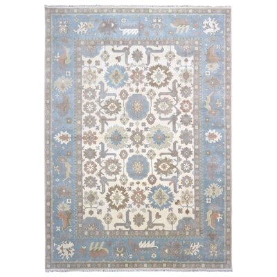 One-of-a-Kind Barnabe Oriental Hand-Woven Wool Blue Area Rug