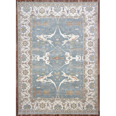 One-of-a-Kind Barnabe Oriental Rectangle Hand-Woven Wool Blue Area Rug