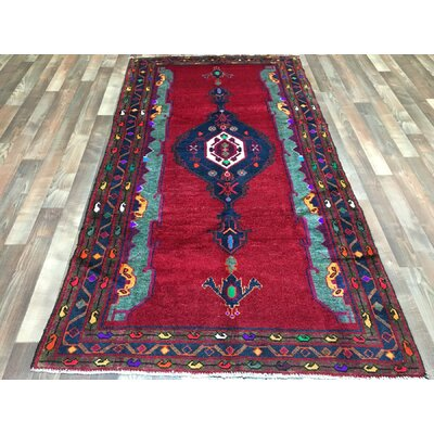 One-of-a-Kind Estrella Hamadan Oriental Hand-Woven Wool Red Area Rug