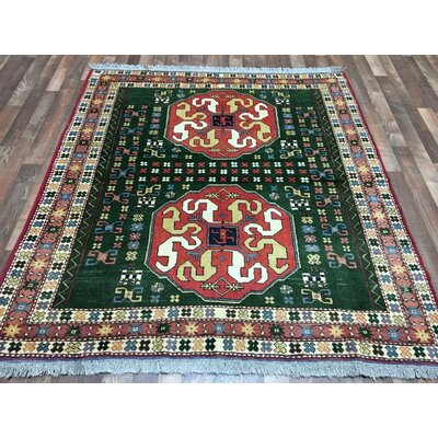 One-of-a-Kind Etolin Oriental Hand-Woven Wool Green Area Rug