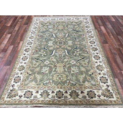 One-of-a-Kind Anjo Hand-Woven Wool Green/Beige Area Rug