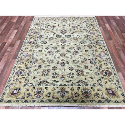 One-of-a-Kind Anjo Hand-Woven Wool Green Area Rug
