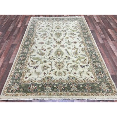 One-of-a-Kind Anjo Hand-Woven Wool Beige Fringe Area Rug