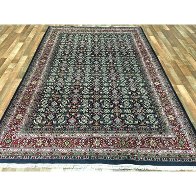 One-of-a-Kind Creange Hand-Woven Wool Navy/Red Area Rug