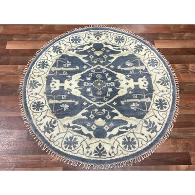 One-of-a-Kind Fairhope Oushak Hand-Woven Wool Blue Area Rug
