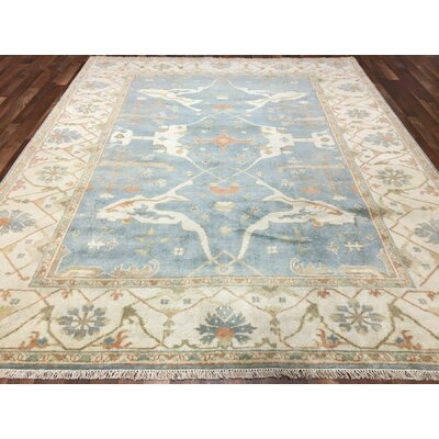 One-of-a-Kind Gulliver Oushak Hand-Woven Wool Blue Area Rug