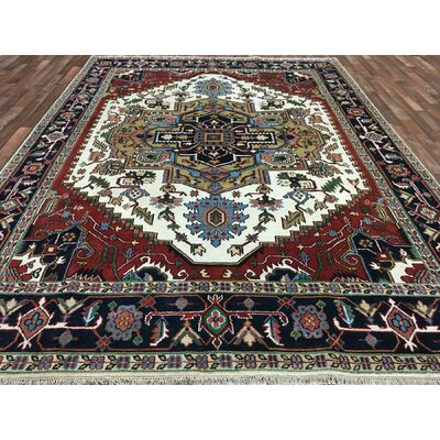 One-of-a-Kind Fairywood Serapi Hand-Woven Wool Red Area Rug