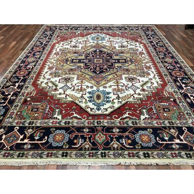 One-of-a-Kind Fanning Springs Serapi Hand-Woven Wool Red Area Rug