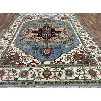One-of-a-Kind Farmland Serapi Hand-Woven Wool Blue Area Rug