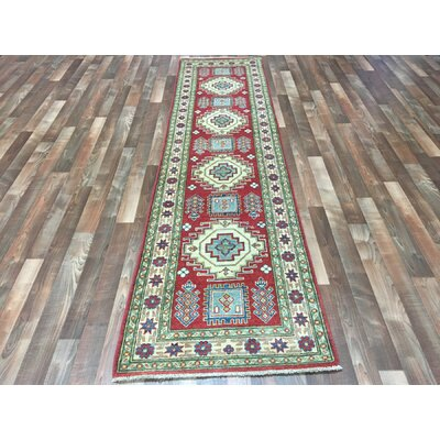 One-of-a-Kind Evan Kazak Oriental Hand-Woven Wool Red Area Rug