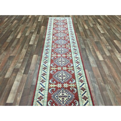 One-of-a-Kind Evan Kazak Hand-Woven Wool Red/Beige Area Rug