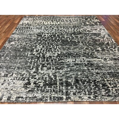 One-of-a-Kind Rupesh Hand-Woven Silk Black/White Area Rug