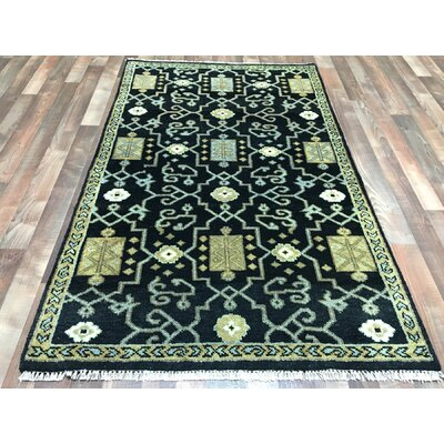 One-of-a-Kind Faunce Oushak Hand-Woven Wool Black Area Rug