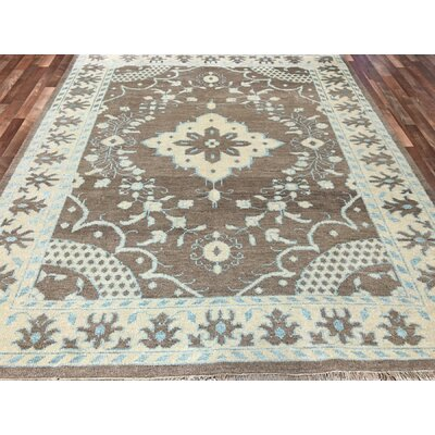 One-of-a-Kind Safia Oushak Hand-Woven Wool Brown Area Rug