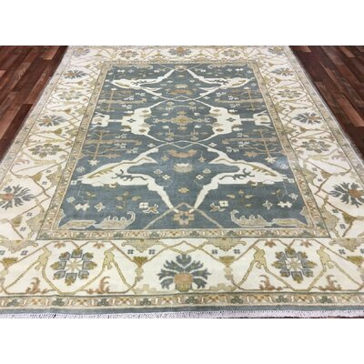 One-of-a-Kind Soleia Oushak Hand-Woven Wool Blue Area Rug