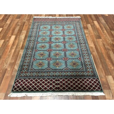 One-of-a-Kind Ewan Oriental Hand-Woven Wool Blue Area Rug