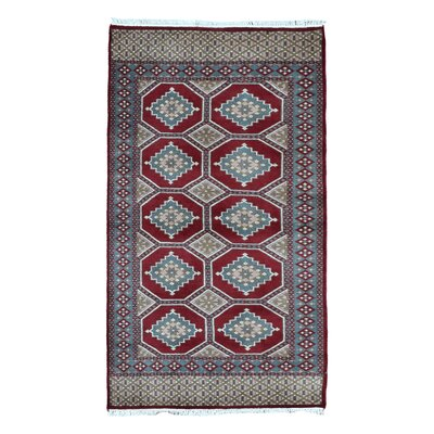 One-of-a-Kind Ewan Oriental Hand-Woven Rectangle Wool Red Area Rug