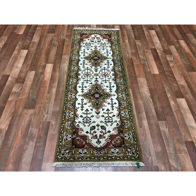One-of-a-Kind Aca Hand-Woven Wool Beige Area Rug