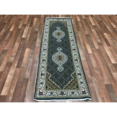 One-of-a-Kind Wallace Way Mahi Hand-Woven Wool/Silk Blue Area Rug