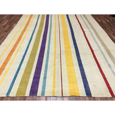 One-of-a-Kind Lewisville Hand-Woven Wool Yellow/Blue/Purple Area Rug
