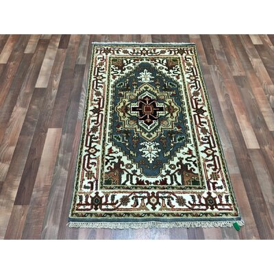 One-of-a-Kind Fenland Serapi Hand-Woven Wool Blue Area Rug