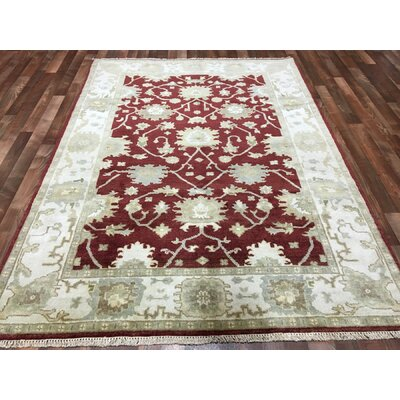 One-of-a-Kind Fife Oushak Hand-Woven Wool Red Area Rug