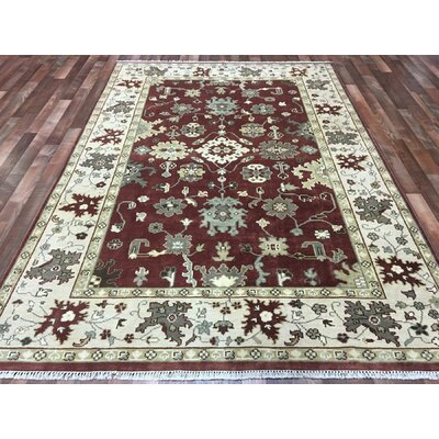 One-of-a-Kind Kudolo Oushak Hand-Woven Wool Red/Beige Area Rug